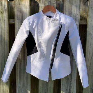 Minimalist White/Black Colorblock Jacket